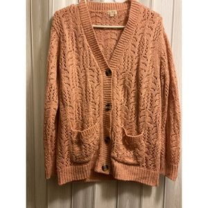 Pink Button Up Knit Sweater Cardigan